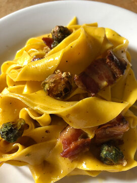 Pasta with dried Brussels sprouts