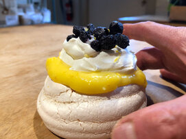 Lemon Curd Pavlova with Dried Blueberries