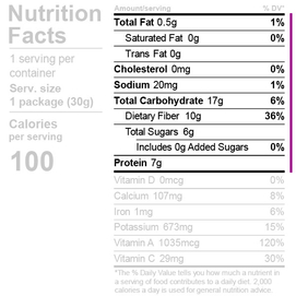 Dehydrated broccoli nutrition facts label