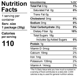 Dehydrated blueberries nutrition label